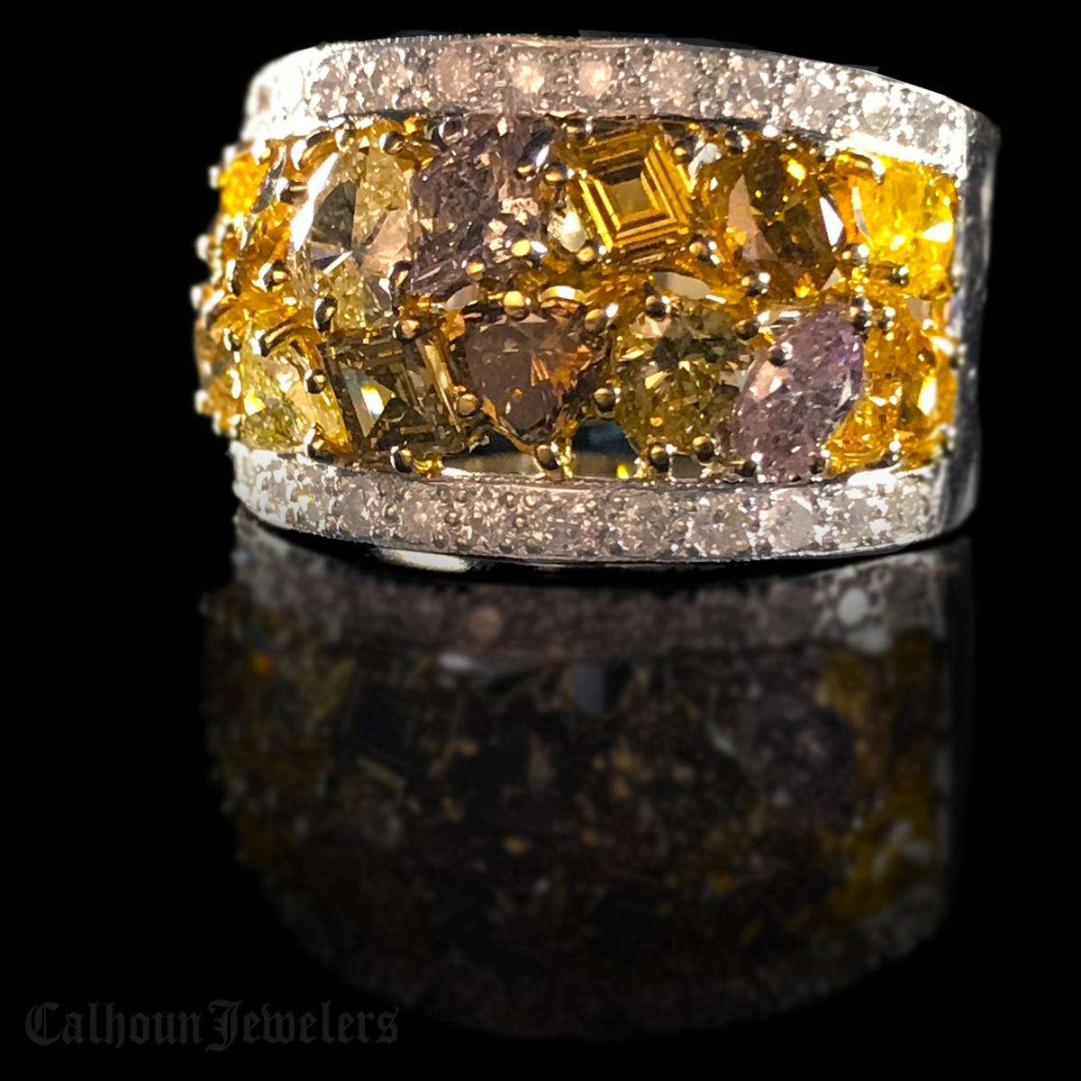Yellow, Pink, Cognac, and Green Diamond Ring