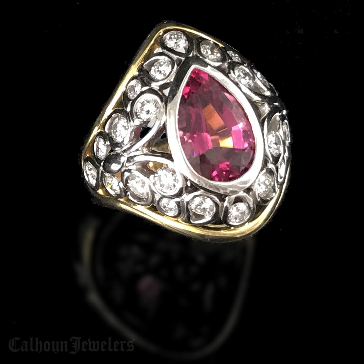 Rubillite and Diamond Ring