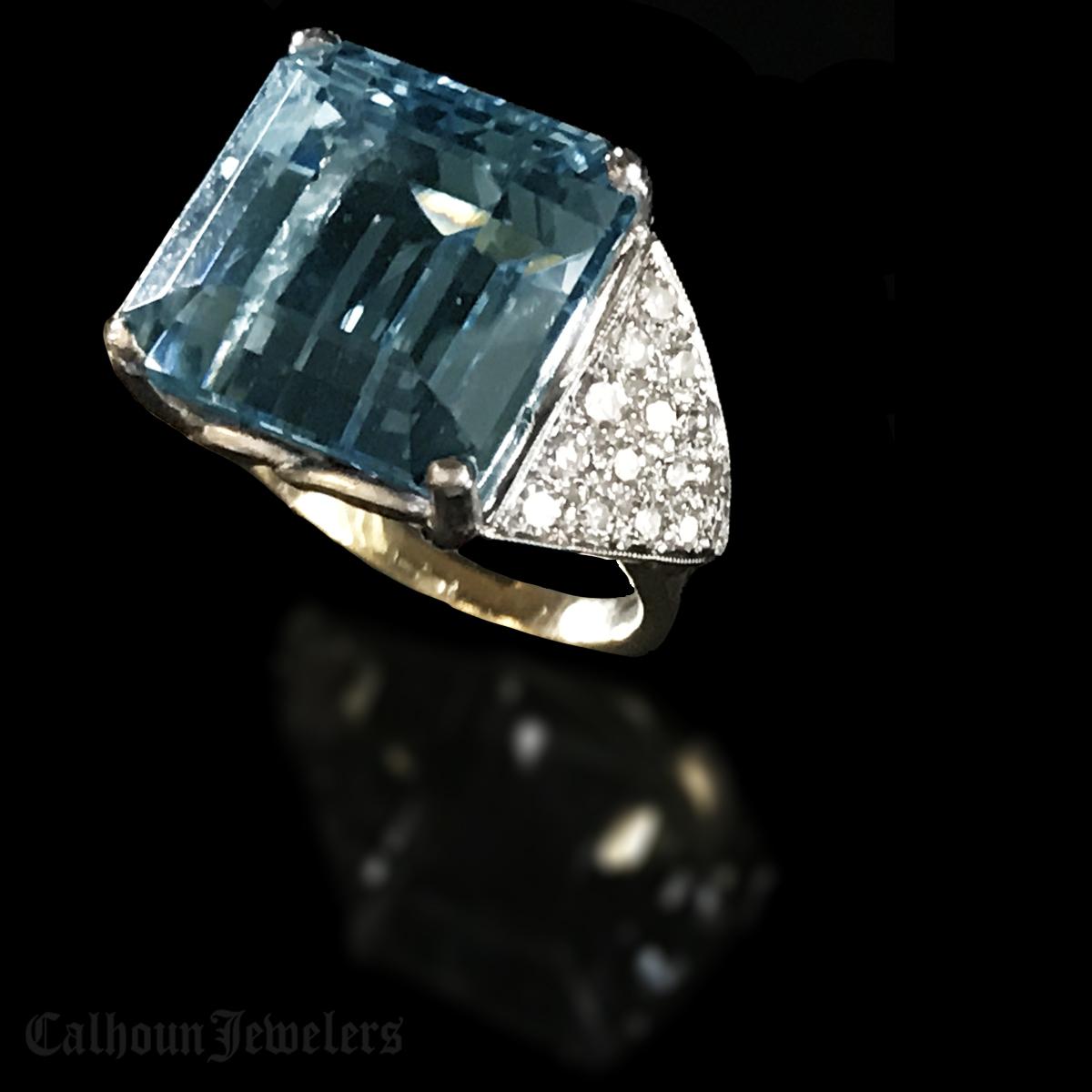 Emerald Cut Blue Topaz and Diamond Ring