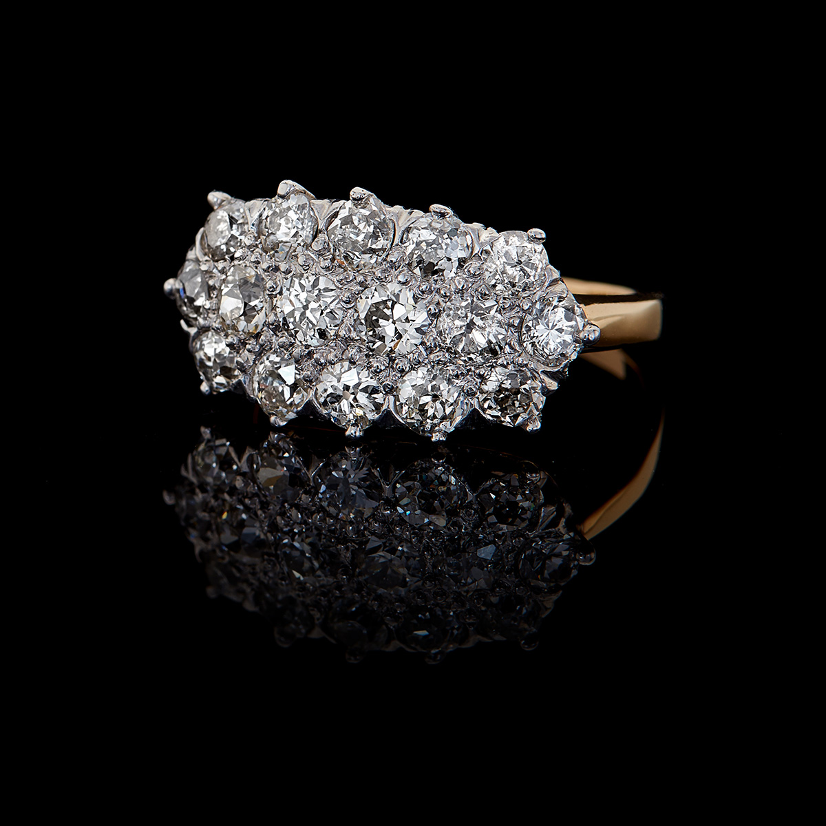 Two Tone 18k Amp 14k Antique Diamond 3 Row Cluster Style Ring