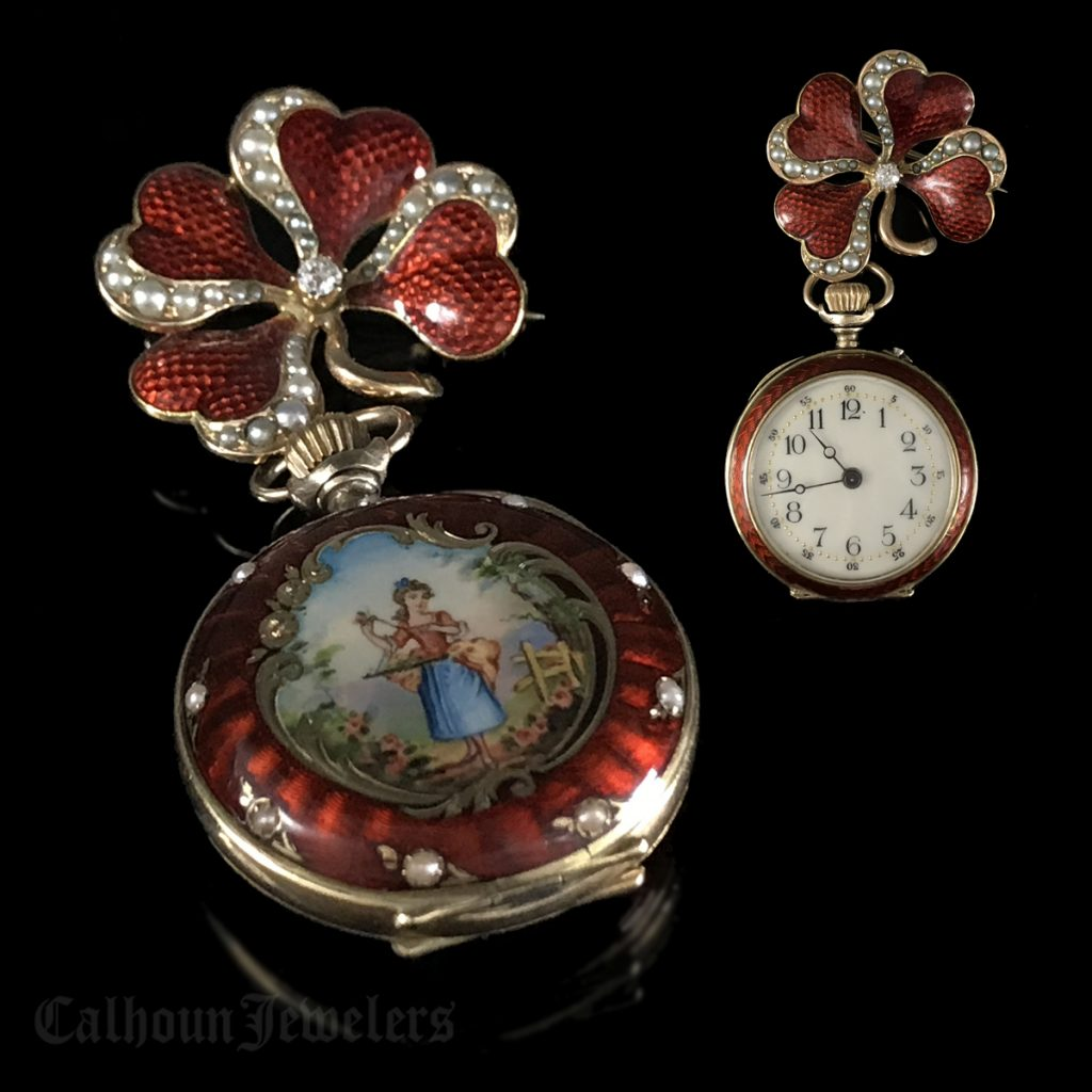 Hand painted glass enamel victorian era pendant watch calhoun about aloadofball Choice Image