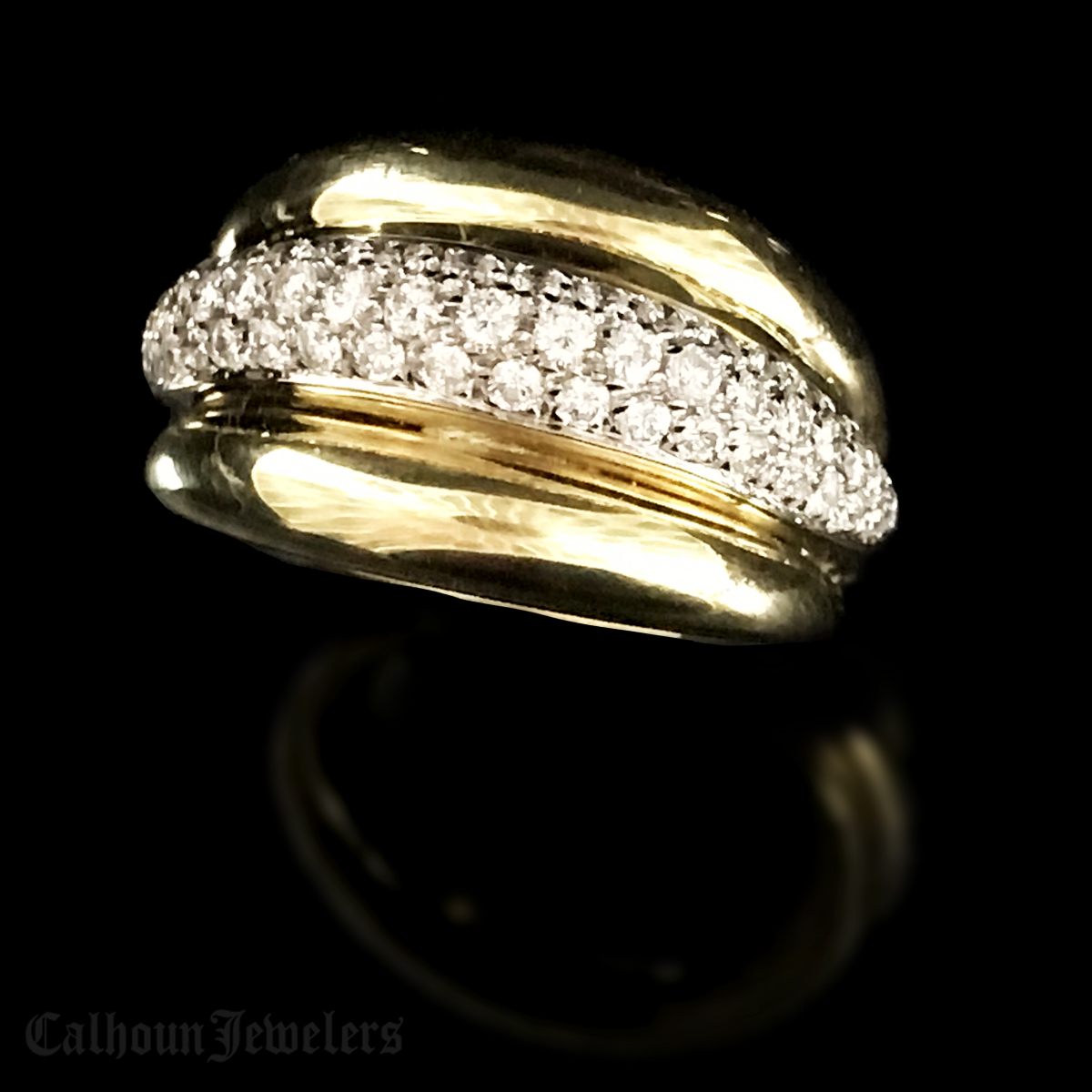 yellow 18Kt. Triple Dome Diamond Band