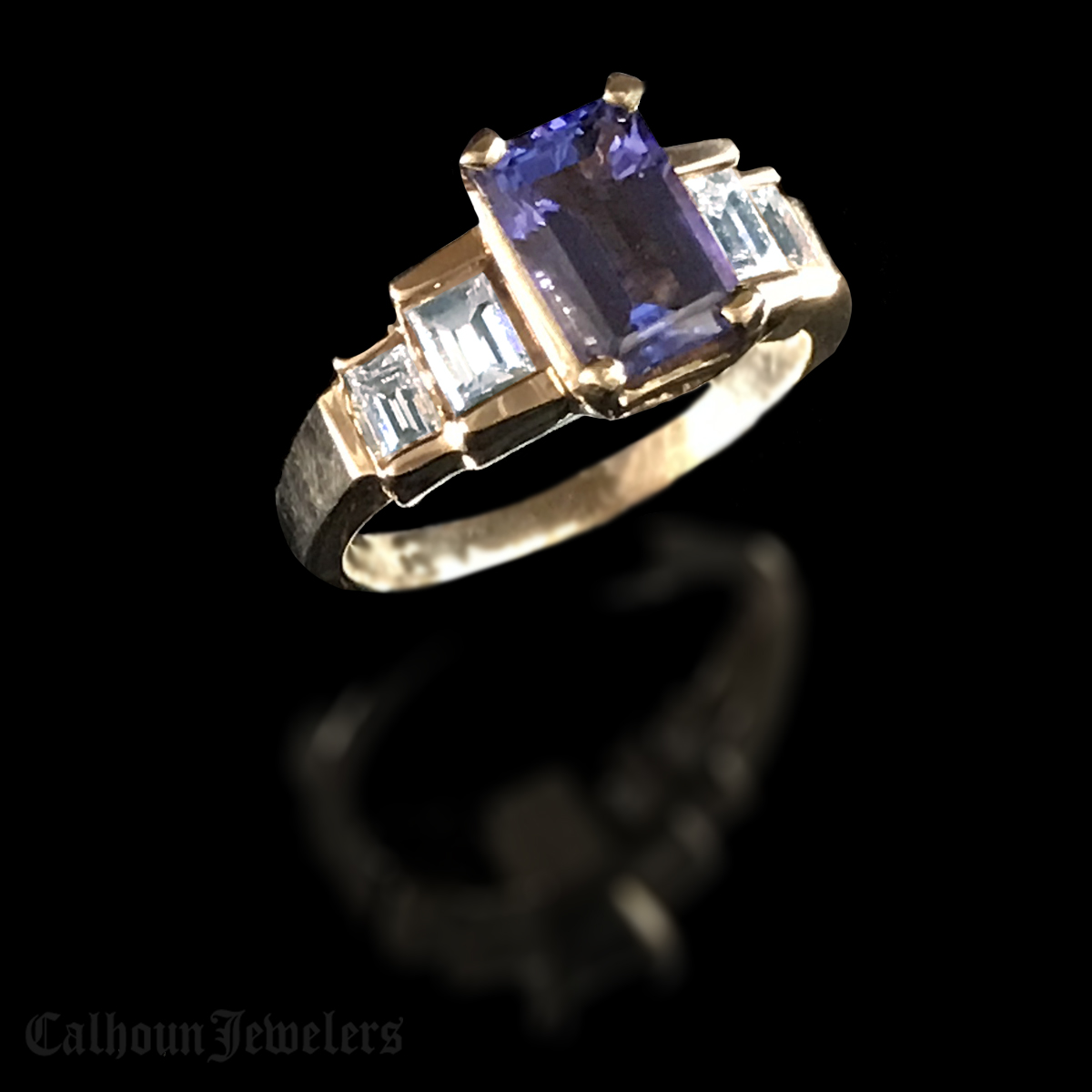 Emerald Cut Tanzanite Ring