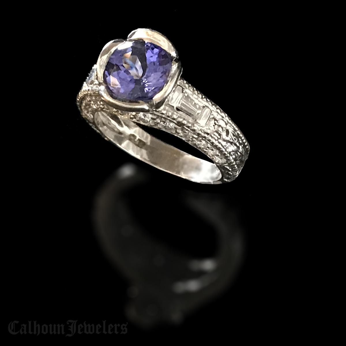 Platinum Tanzanite and Diamond Ring