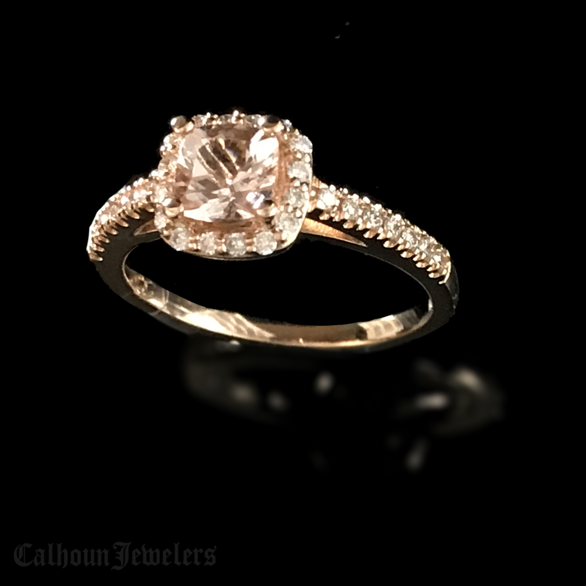 Morganite and Diamond Halo Ring