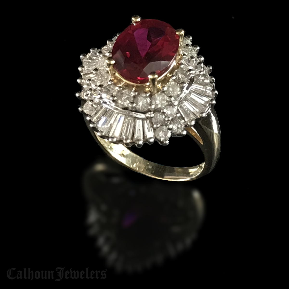 Synthetic Verneuil Flame Fusion Ruby Cocktail Ring